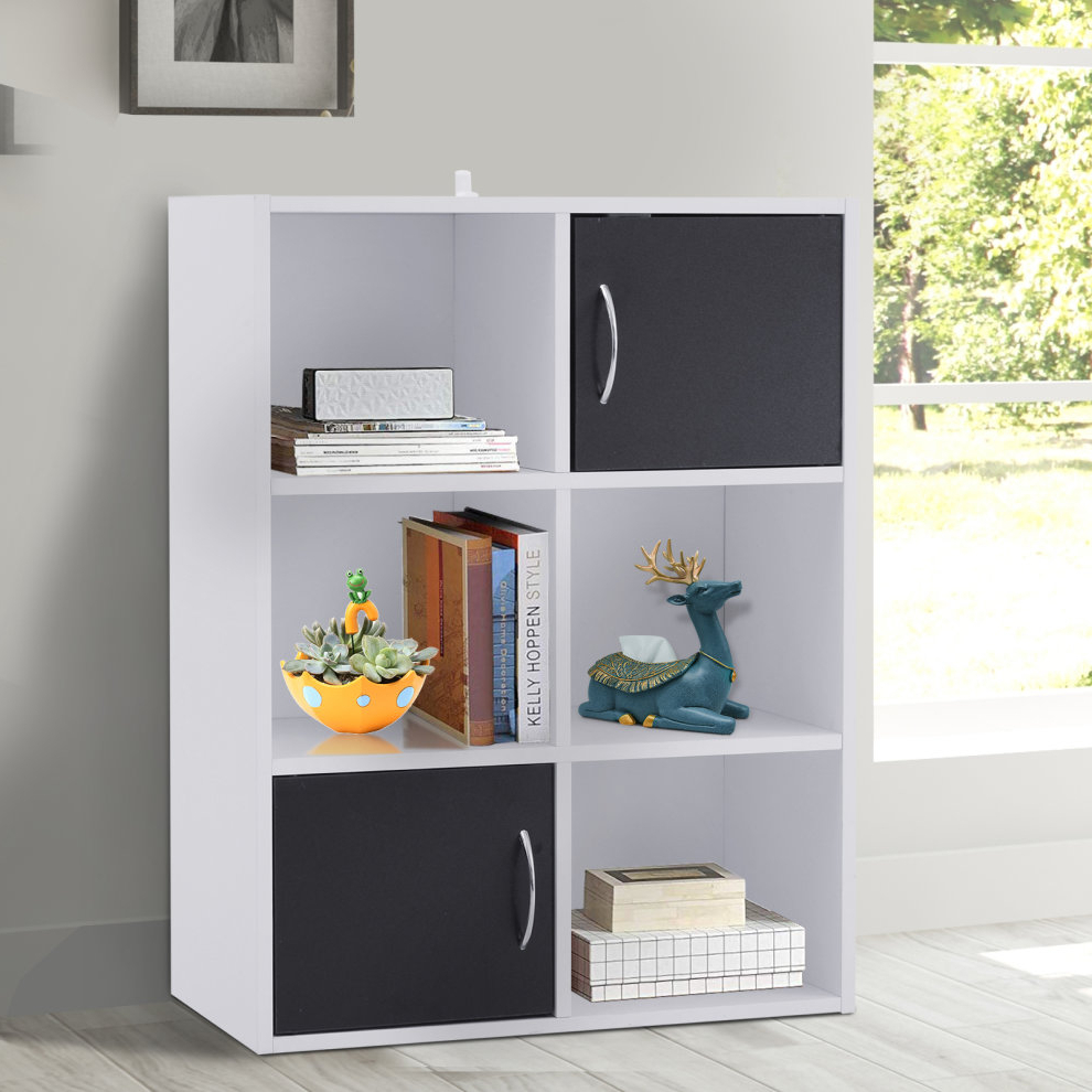 Karlie Cube Unit Bookcases Pertaining To Trendy Homcom 6 Cubes Bookcase Multi Cells Bookshelf Storage Cabinet Unit W/ Doors White (View 13 of 20)
