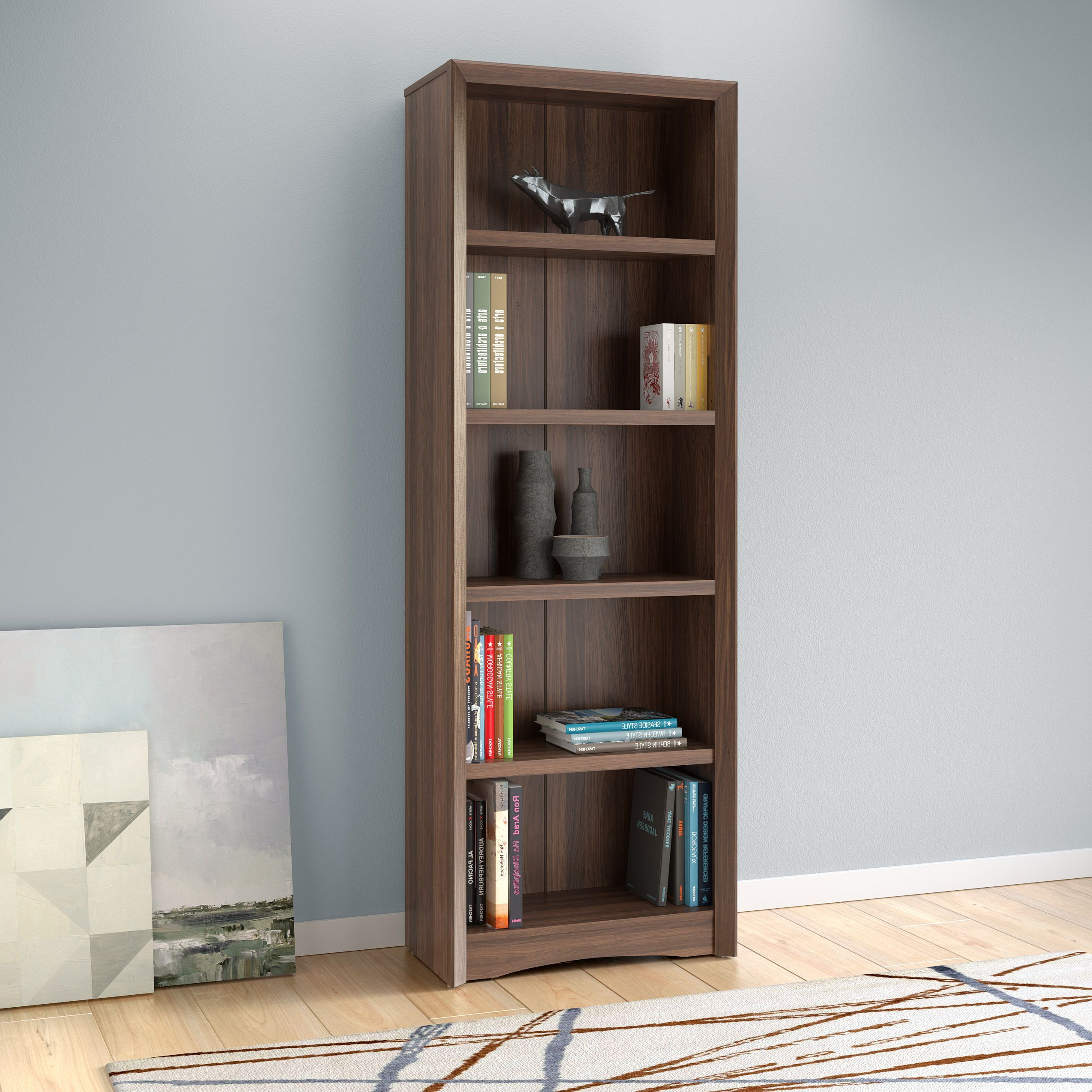 Kayli Standard Bookcases In Best And Newest Corliving Quadra 71 Inch Tall Bookcase With Faux Woodgrain (View 13 of 20)