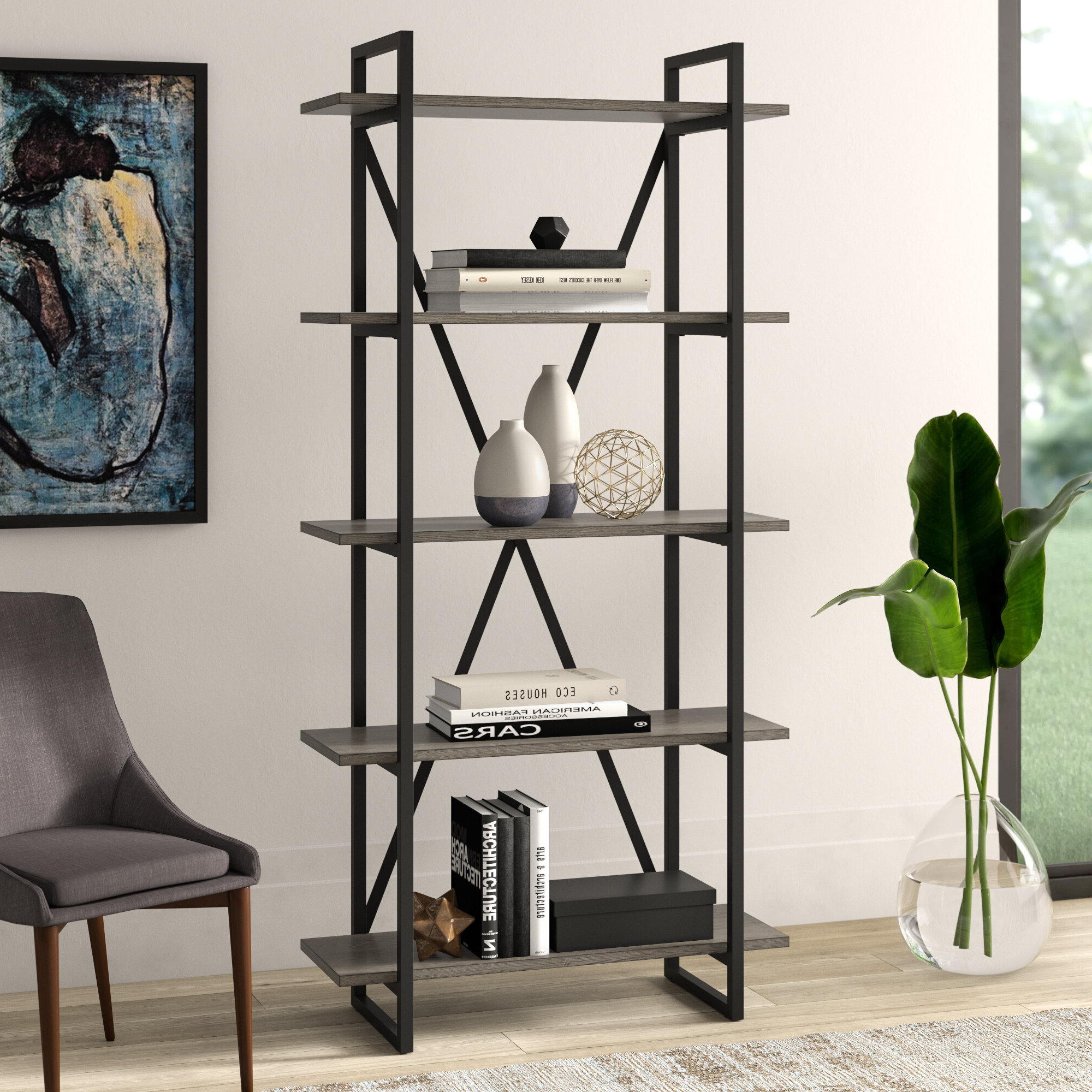 Keeble Metal Etagere Bookcase Inside Popular Moriann Etagere Bookcases (View 7 of 20)