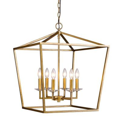 Kenedy 9 Light Candle Style Chandeliers Intended For Trendy Acclaim Lighting Kennedy Indoor 6 Light Antique Gold (View 8 of 25)