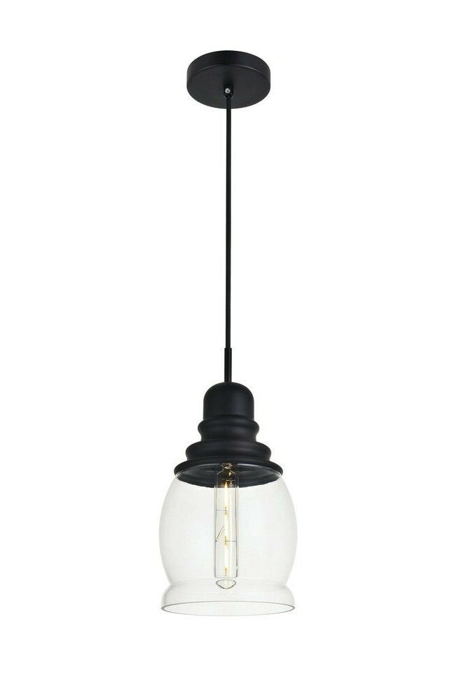 Kenna 5 Light Empire Chandeliers Pertaining To Well Liked Elegant Ld2238Bk Kenna 1 Light Black Pendant With Clear Glass (View 13 of 25)