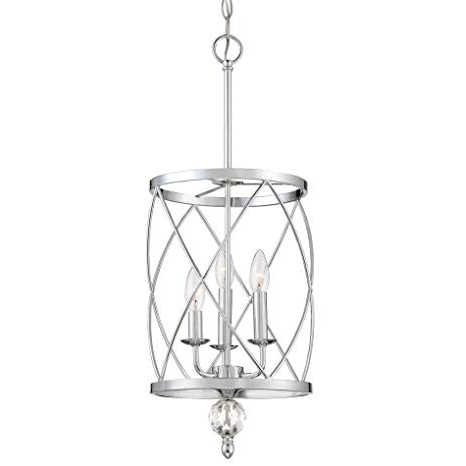 "Kira Home Eleanor 13"" 3 Light Traditional Foyer Light Pendant Chandelier, Cylinder Metal Shade, Adjustable Height, Chrome Finish Regarding Fashionable 3 Light Lantern Cylinder Pendants (View 19 of 25)"
