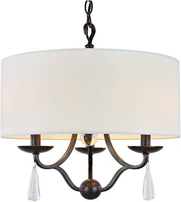 "Kira Home Quinn 21"" Traditional 5 Light Chandelier + White Within Recent Burton 5 Light Drum Chandeliers (View 18 of 25)"