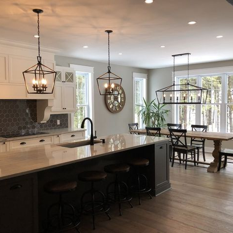 Kitchen Hanging Intended For 2017 Louanne 3 Light Lantern Geometric Pendants (View 14 of 25)