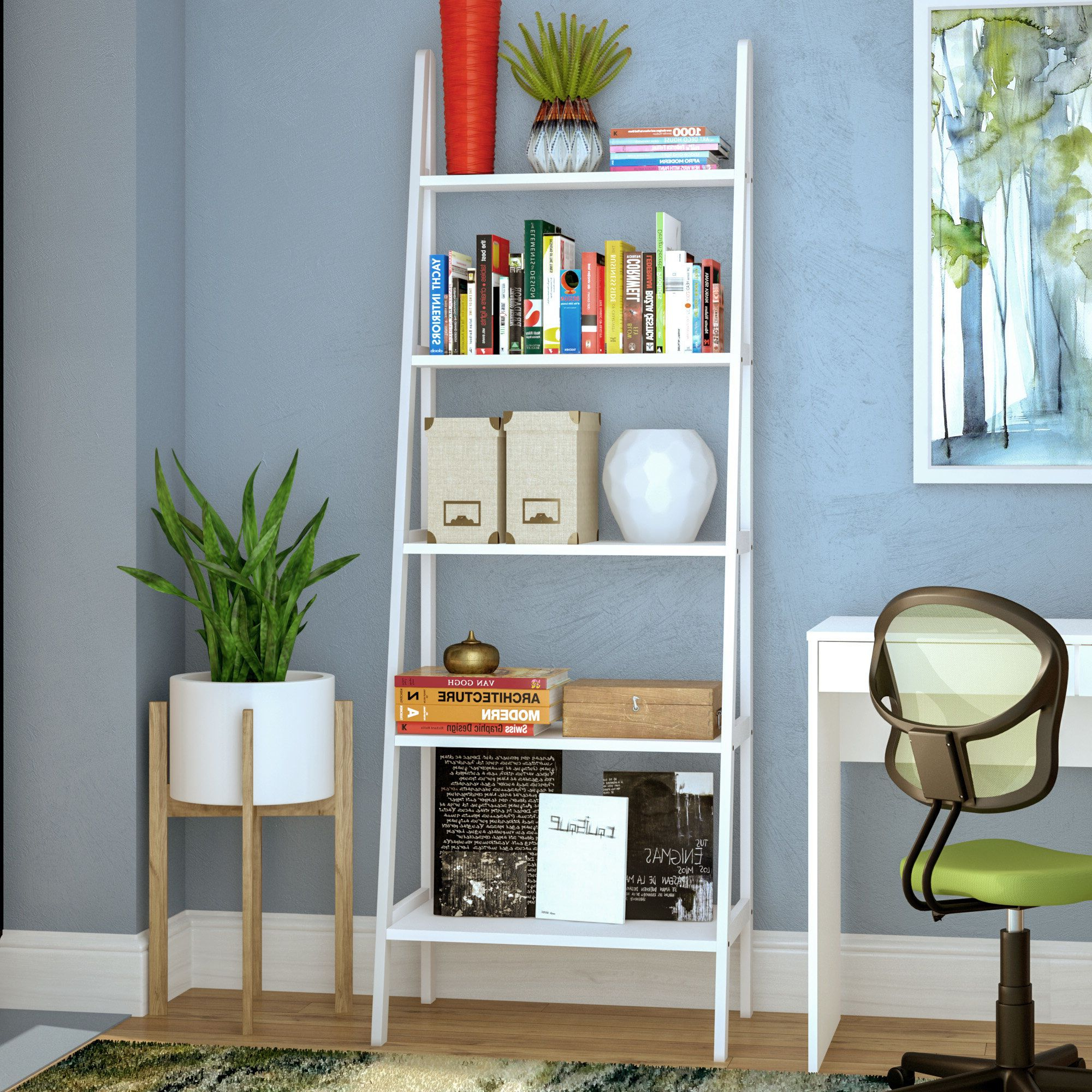 Ladder Bookcase Pertaining To Most Current Saskia Etagere Bookcases (View 16 of 20)