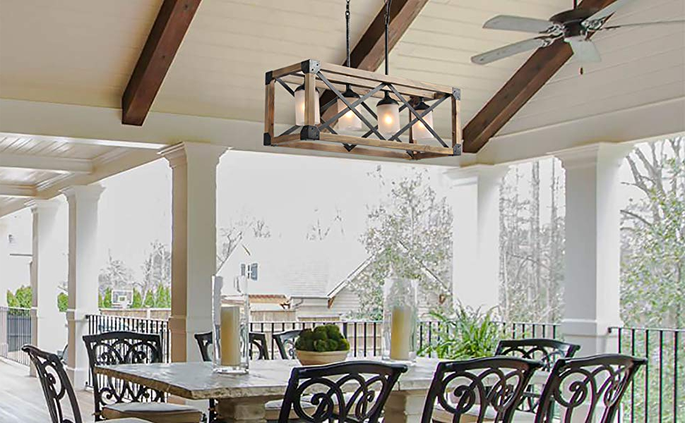 Laluz Wood Kitchen Island Farmhouse Pendant Lighting Hanging Fixture For  Dining Room, 4 Glass Globes, A02989 With Regard To Most Current Delon 1 Light Lantern Geometric Pendants (View 17 of 25)