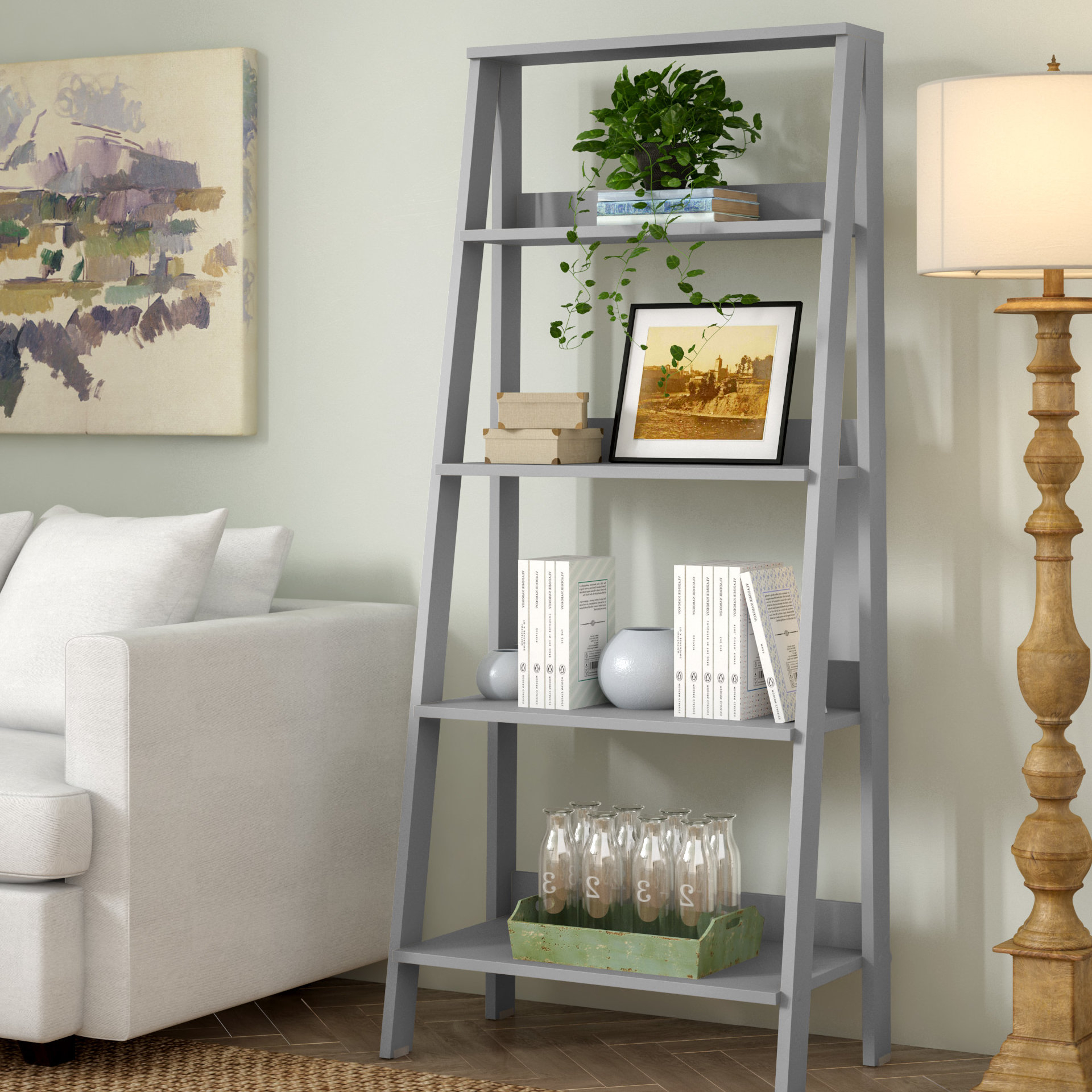 Langley Street Imogen Ladder Bookcase Pertaining To Trendy Rupert Ladder Bookcases (View 9 of 20)