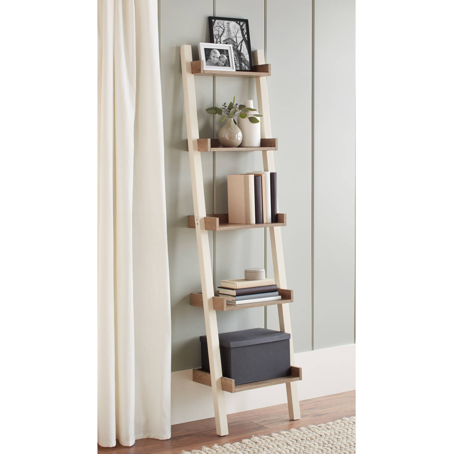 Latest Better Homes And Gardens Bedford 5 Shelf Narrow Leaning Bookcase, Multiple  Colors Regarding Narrow Ladder Bookcases (View 9 of 20)