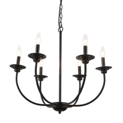 Latest Black – Candle Style – Chandeliers – Lighting – The Home Depot For Shaylee 5 Light Candle Style Chandeliers (View 12 of 25)