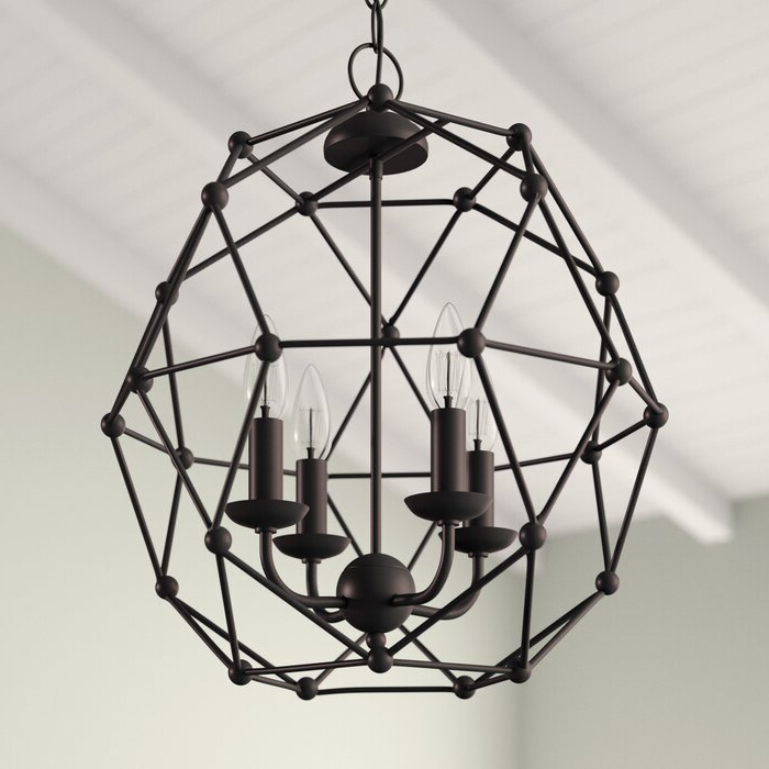 Latest Cavanagh 4 Light Geometric Chandeliers Pertaining To Cavanagh 4 Light Geometric Chandelier (View 18 of 25)