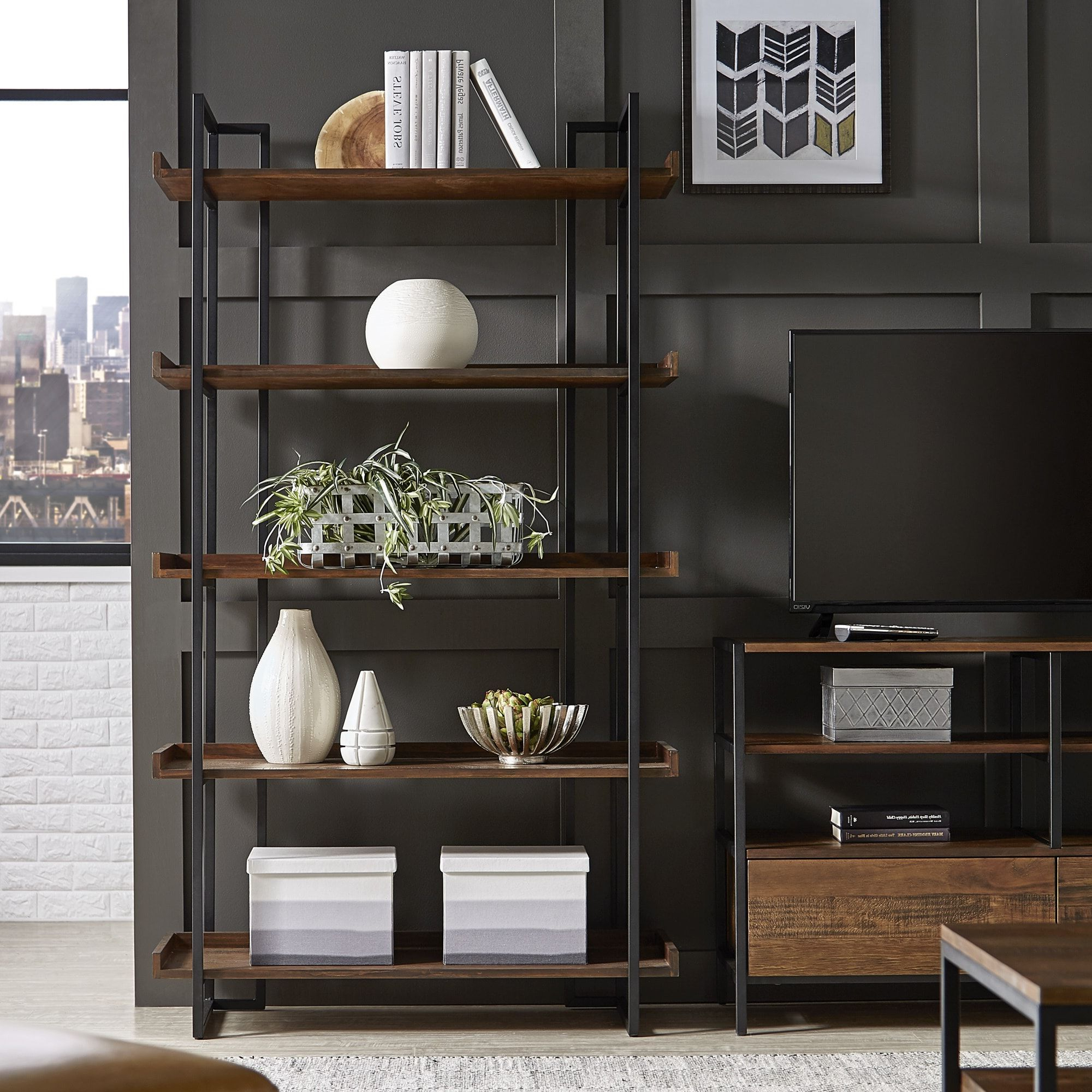 Latest Corey Rustic Brown Etagere Bookcasesinspire Q Modern In Throughout Moriann Etagere Bookcases (View 8 of 20)