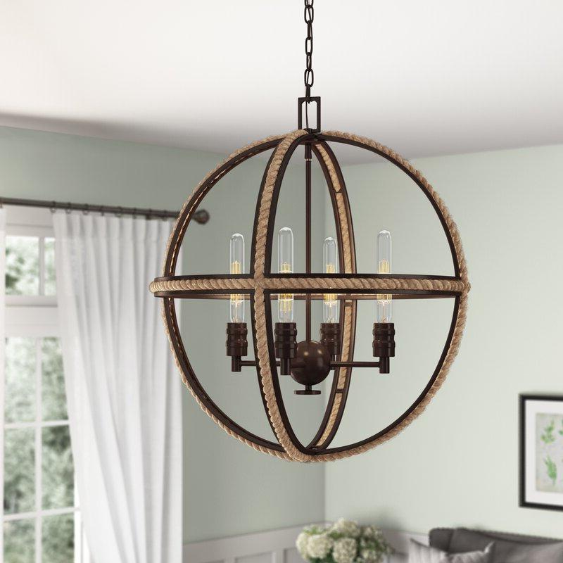 Latest Filipe Globe Chandeliers With Regard To Kennett 4 Light Globe Chandelier (View 17 of 25)
