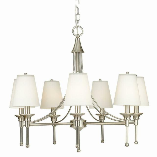 Latest Hampton Bay Sadie Collection 7 Light Satin Nickel Chandelier Intended For Whitten 4 Light Crystal Chandeliers (View 9 of 25)
