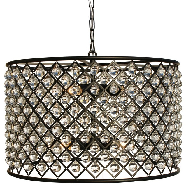 Latest Jill 4 Light Drum Chandeliers With Regard To Cassiel Crystal Drum Chandelier, Black (View 14 of 25)