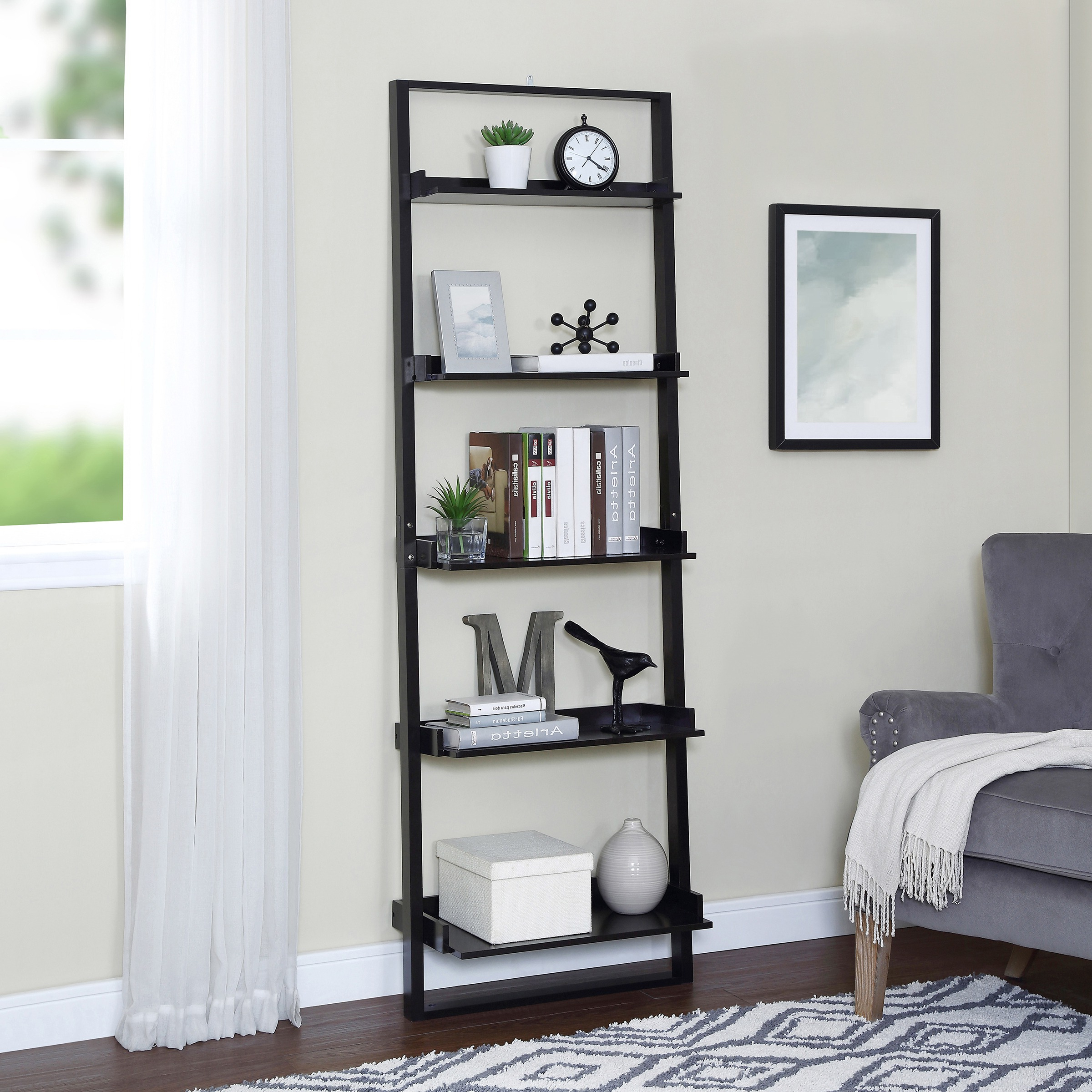 "Latest Kaitlyn Ladder Bookcases With Mainstays 70"" 5 Shelf Leaning Ladder Bookcase, Espresso (View 18 of 20)"