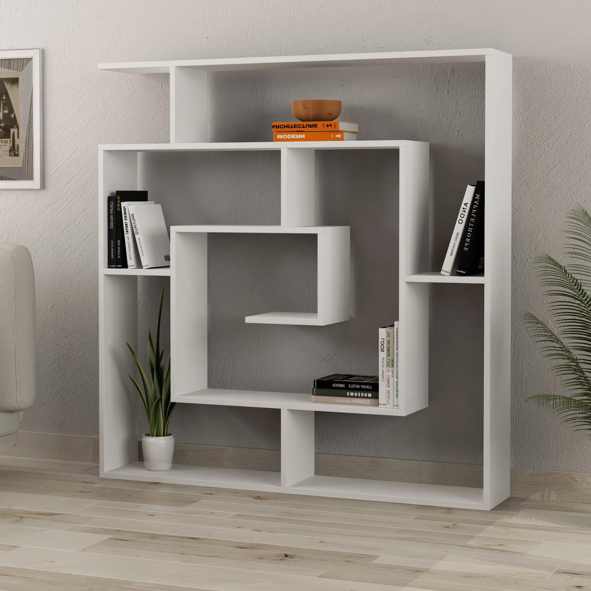 Latest Mckibben Geometric Bookcase Within Ignacio Standard Bookcases (View 10 of 20)