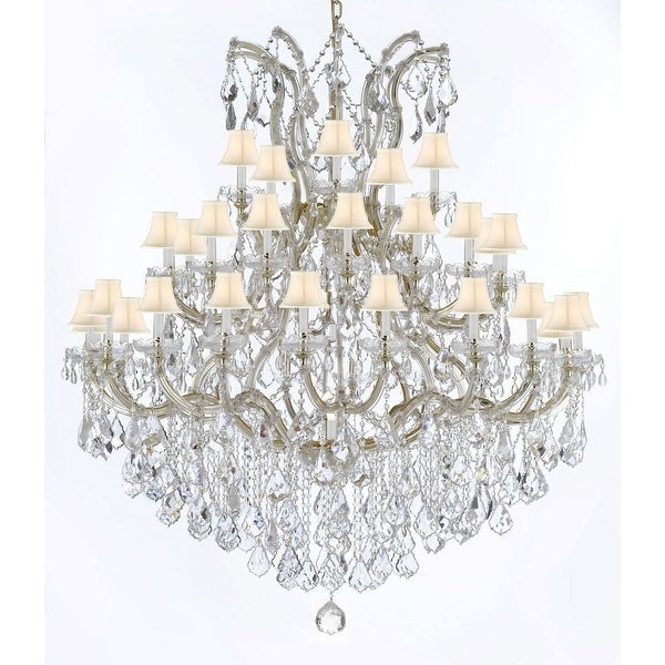 Latest Swarovski Crystal Trimmed Maria Theresa Crystal Chandelier With White Shade Intended For Thresa 5 Light Shaded Chandeliers (View 19 of 25)
