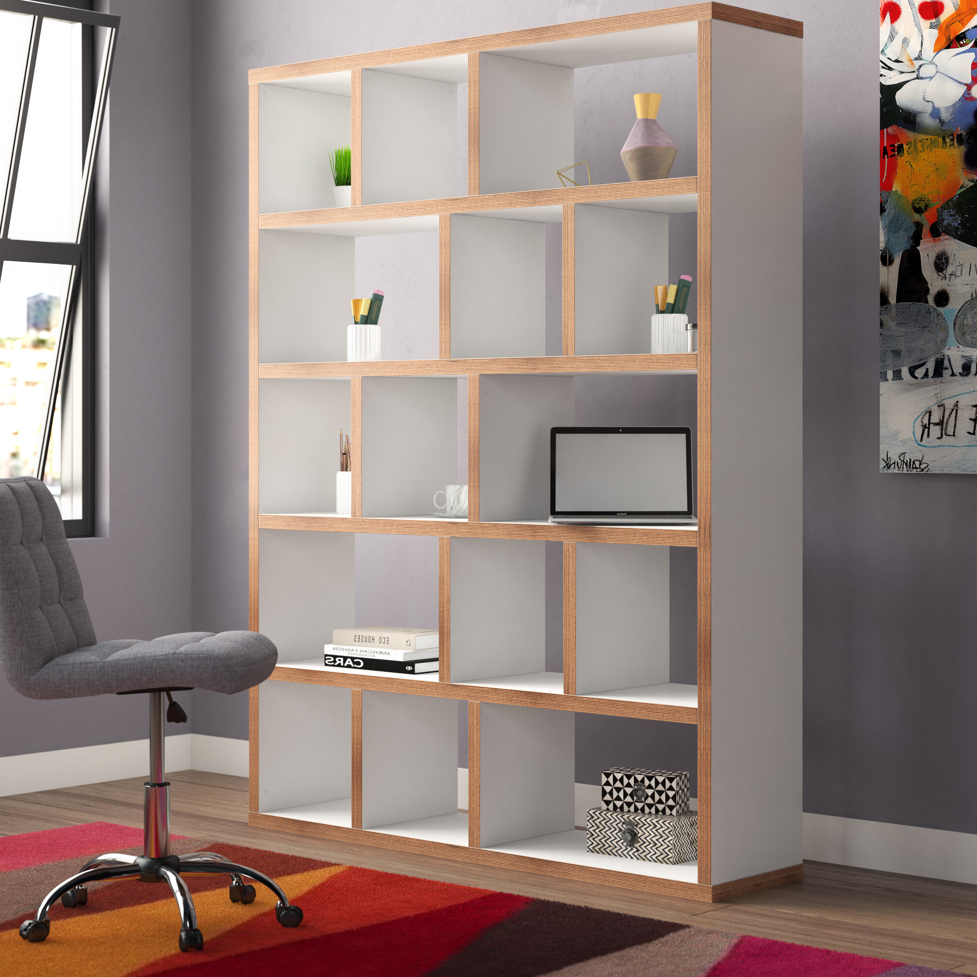 Featured Photo of Varga 5 Level Geometric Bookcases