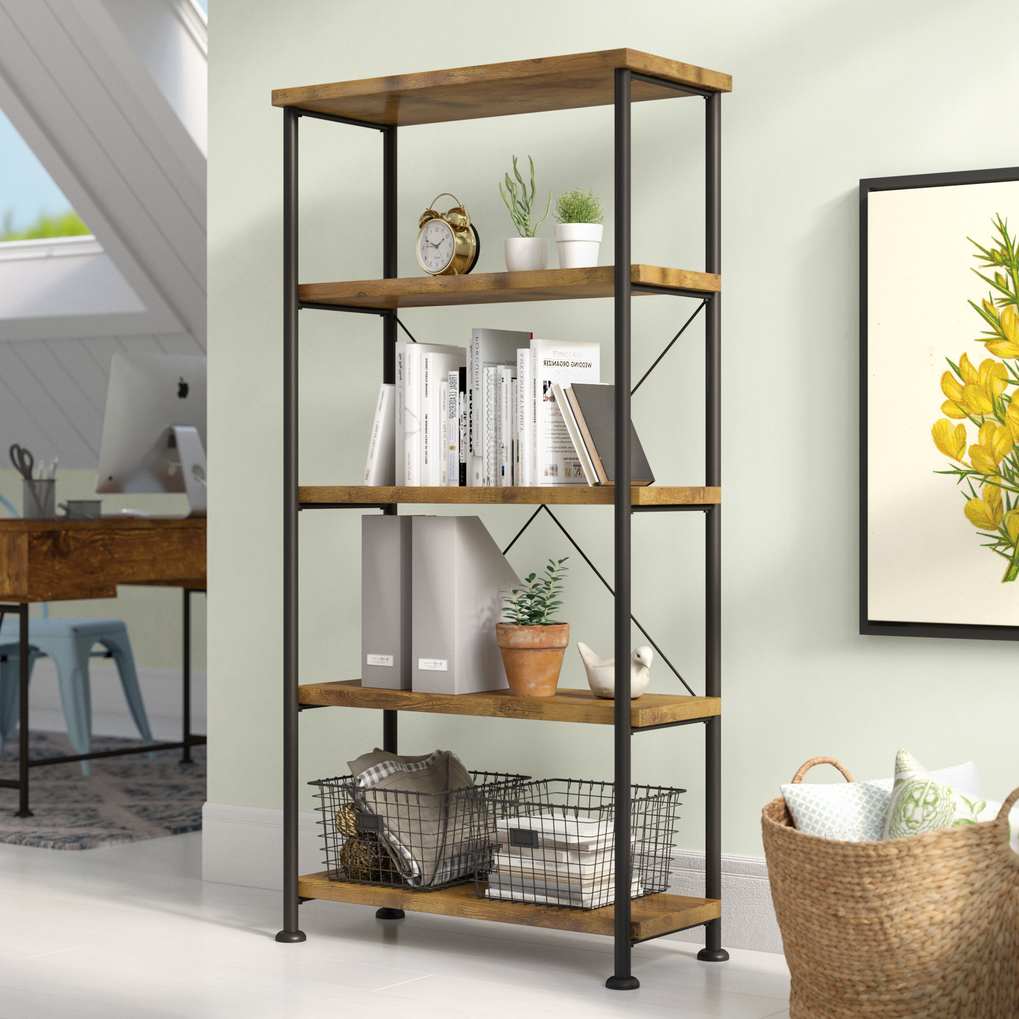 Laurel Foundry Modern Farmhouse Epineux Etagere Bookcase Regarding 2020 Cecelia Etagere Bookcases (View 5 of 20)