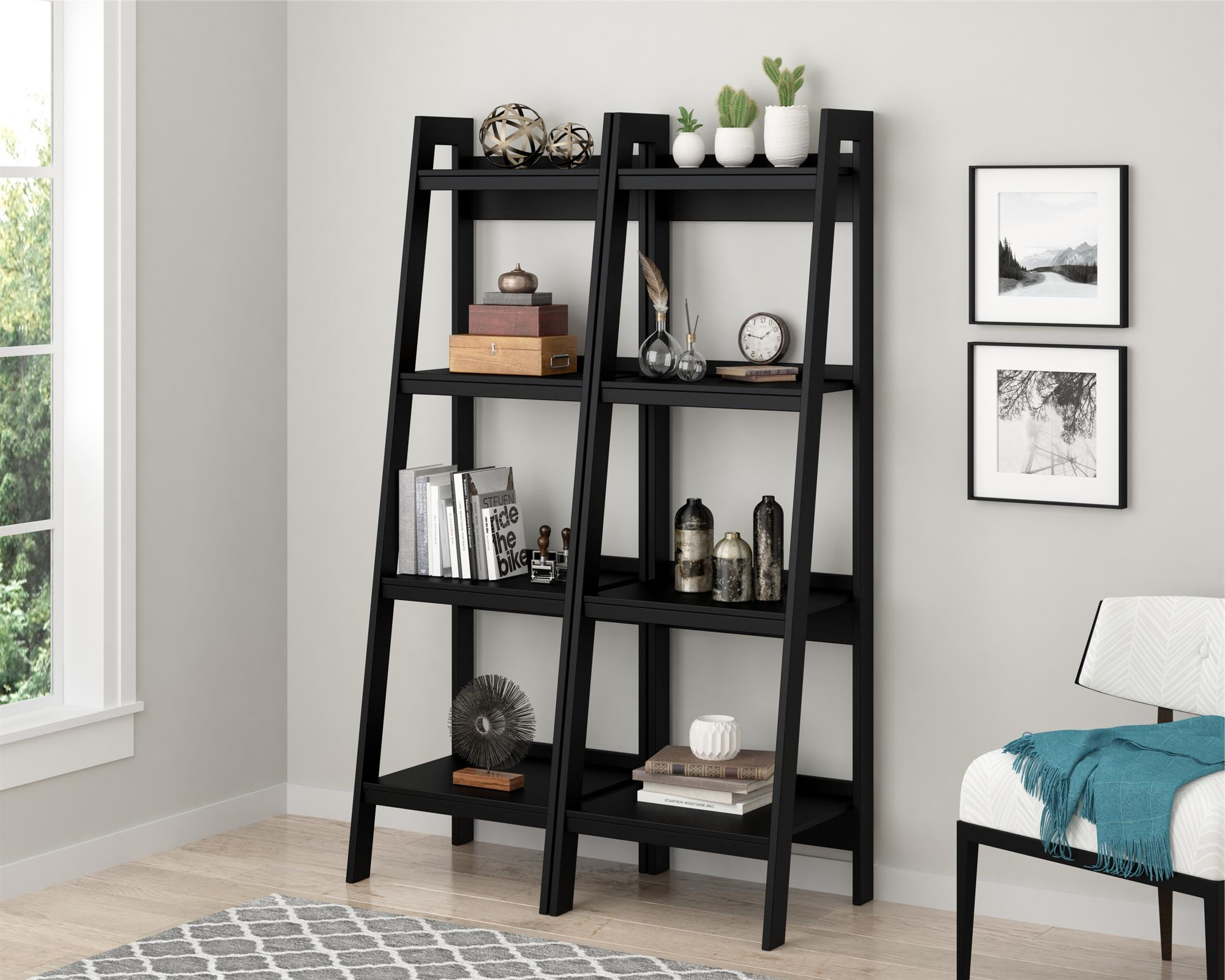 Lawrence 4 Shelf Ladder Bookcase Inside Widely Used Kaitlyn Ladder Bookcases (View 14 of 20)