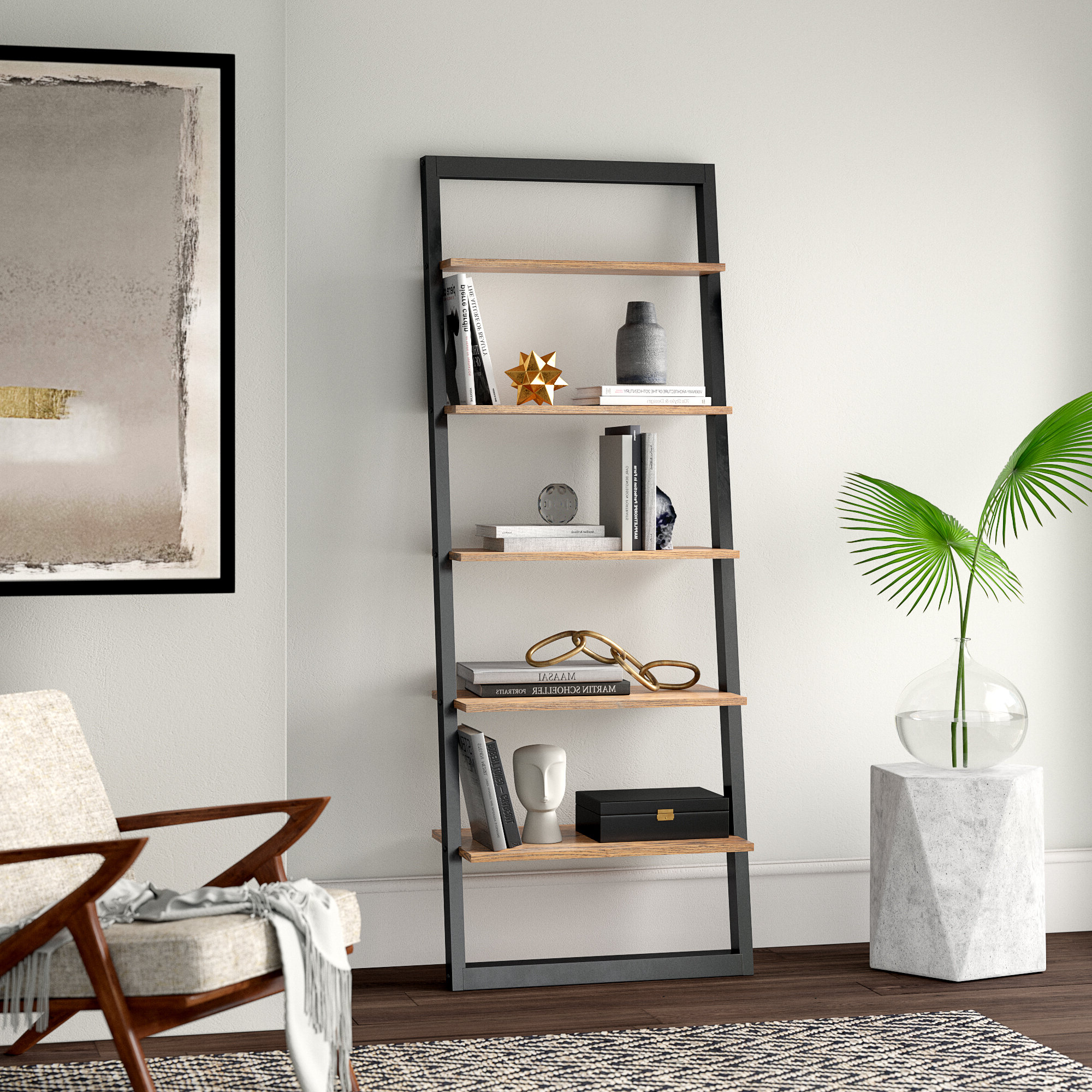 Leandra Ladder Bookcases In Most Recently Released Theophanes Ladder Bookcase (View 9 of 20)