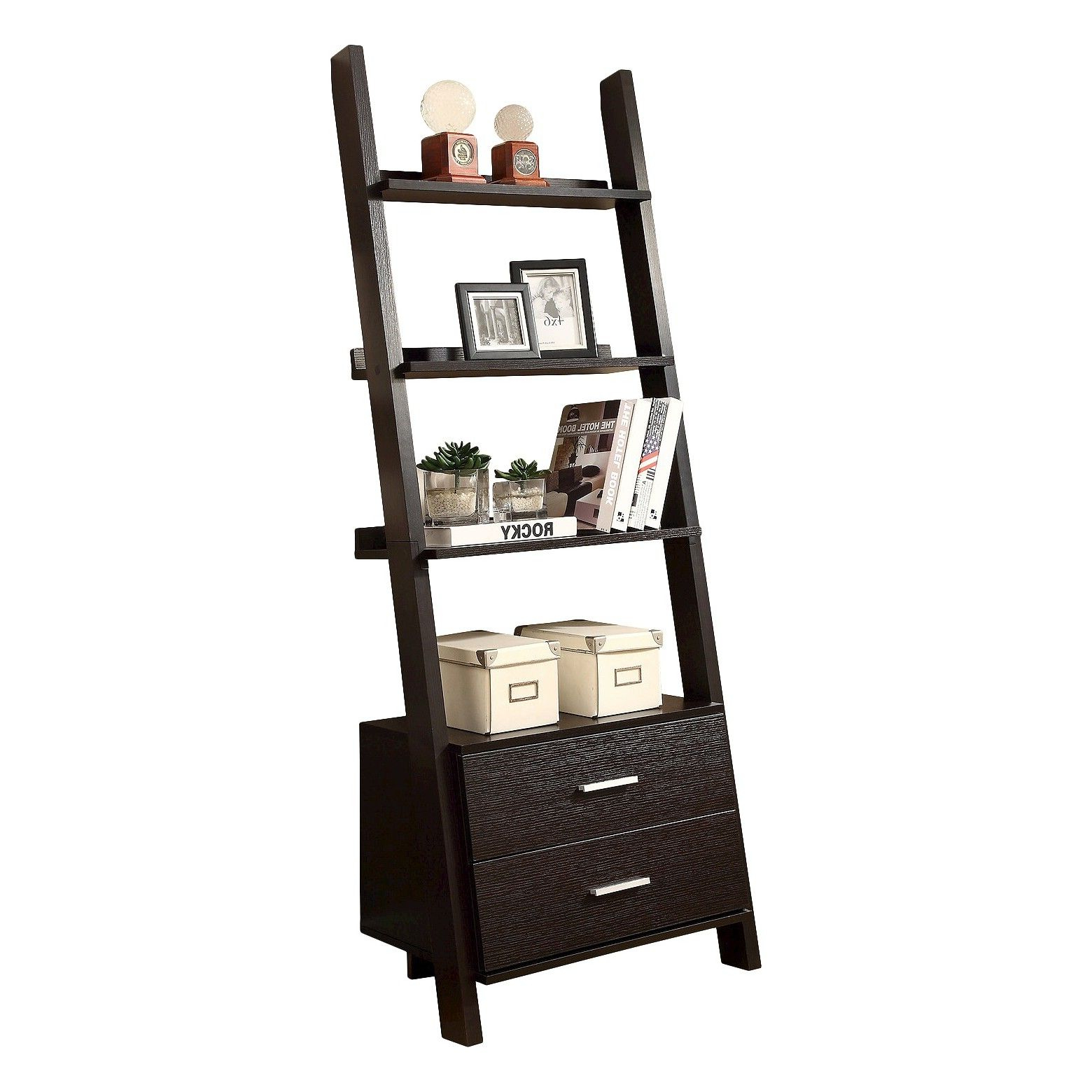 "Leandra Ladder Bookcases Inside Newest 69"" Ladder Bookcase With Drawers – White – Everyroom (View 19 of 20)"
