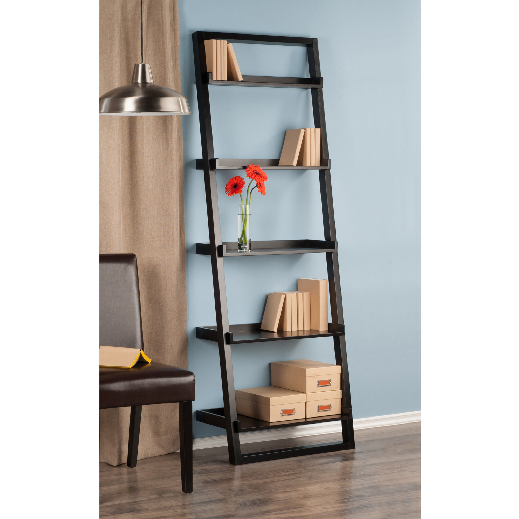 Leandra Ladder Bookcases Pertaining To Newest Averett Ladder Bookcase (View 8 of 20)