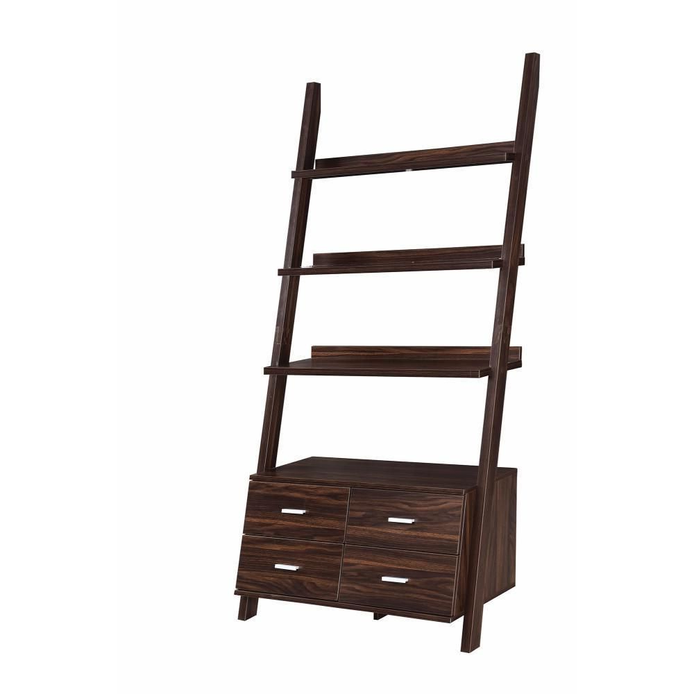 Leandra Ladder Bookcases Within Most Recently Released Spacious Ladder Style Home And Office Bookcase, Brown (View 14 of 20)