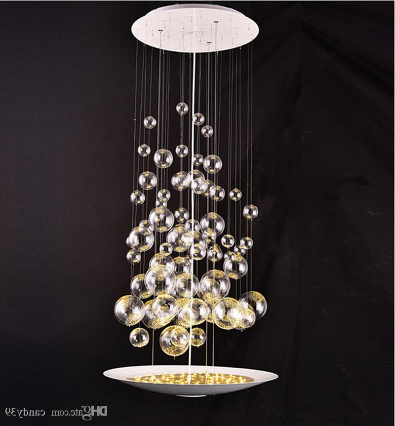 Lindsey 4 Light Drum Chandeliers With Latest Modern Glass Bubble Balls Led Suspension Pendant Lamp Clear Light Fixtures  For Parlor Study Bedroom Home Lighting B (View 17 of 25)