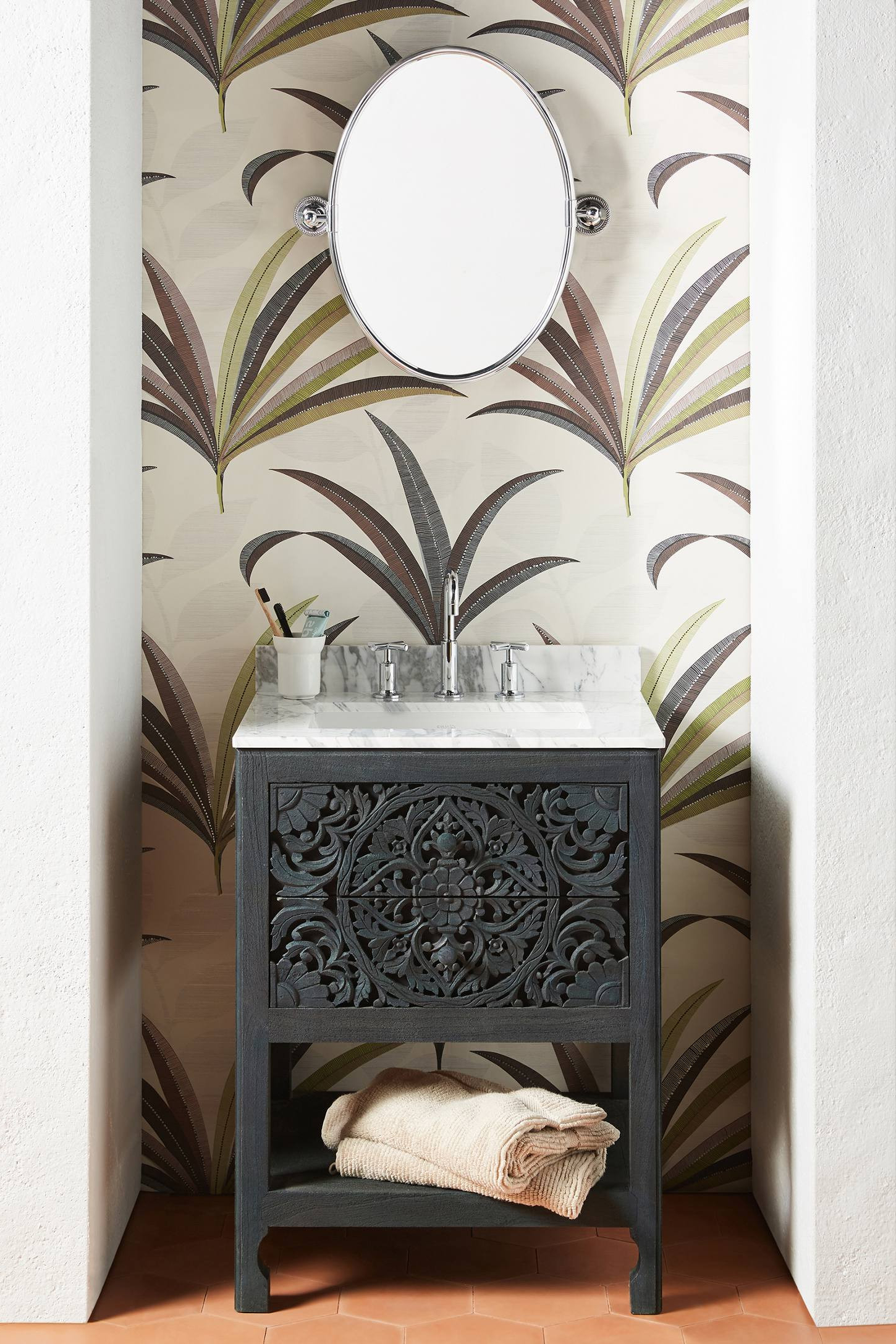 Lombok Powder Vanity Throughout Well Known Macon Etagere Bookcases (View 12 of 20)