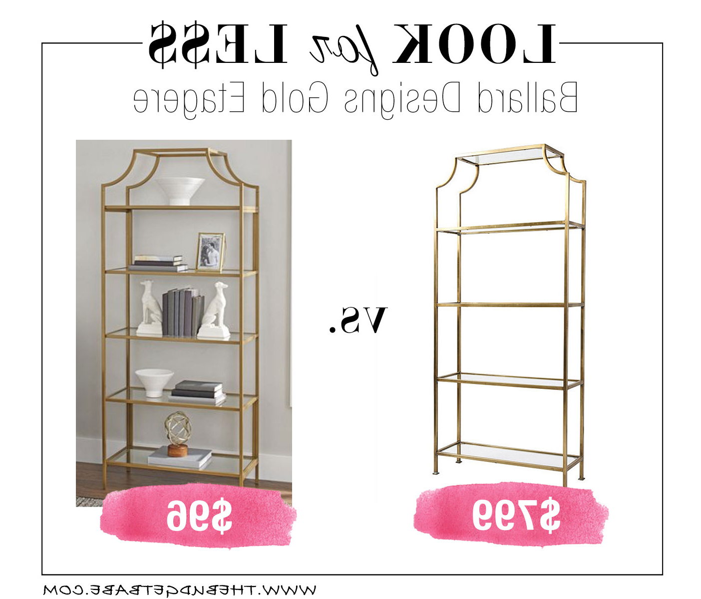 Look For Less: Ballard Designs Gold Etagere Bookcase – The For Latest Blairs Etagere Bookcases (View 12 of 20)