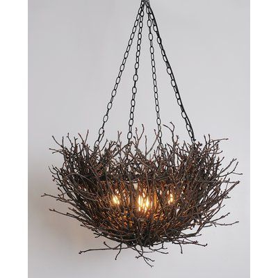 Loon Peak Torres Nest Branch Twig 5 Light Novelty Chandelier Intended For Most Popular Newent 5 Light Shaded Chandeliers (View 10 of 25)