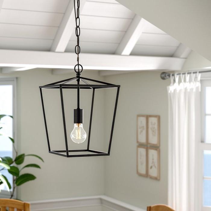 Louanne 1 Light Lantern Geometric Pendants With Trendy Finnick 1 Light Geometric Pendant (View 15 of 25)