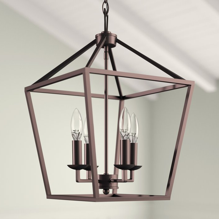Louanne 3 Light Lantern Geometric Pendants For Current Carmen 4 Light Lantern Geometric Pendant (View 15 of 25)