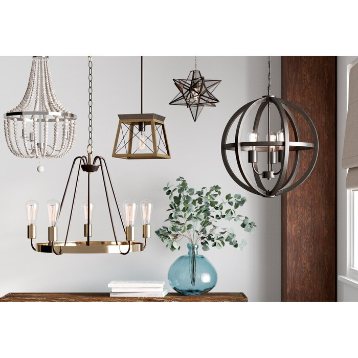 Louanne 3 Light Lantern Geometric Pendants Inside Newest Delon 1 Light Lantern Geometric Pendant (View 16 of 25)
