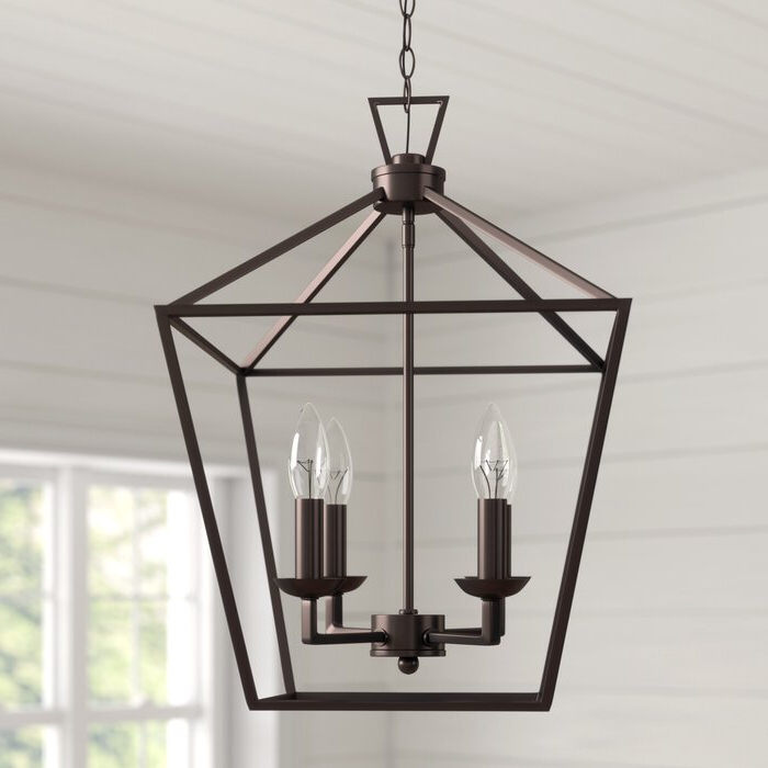 Louanne 3 Light Lantern Geometric Pendants Within Famous Carmen 4 Light Lantern Geometric Pendant (View 21 of 25)