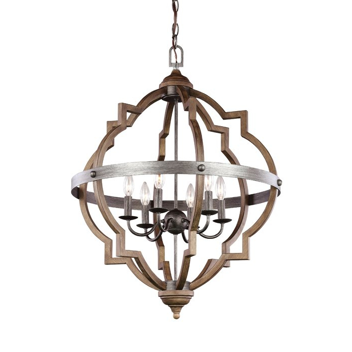 Lynn 6 Light Geometric Chandeliers With Best And Newest Bennington 6 Light Candle Style Chandelier (View 15 of 25)