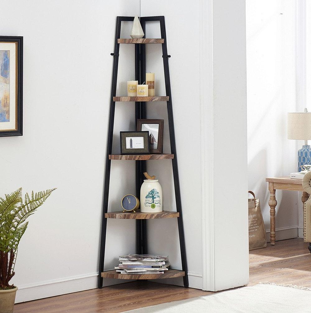 Mari Wood Corner Bookcases In Fashionable Amazon: O&k Furniture 5 Shelf Industrial Corner Bookcase (View 7 of 20)