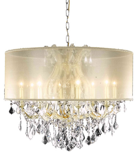 Maria Theresa 9 Light 30 Inch Gold Dining Chandelier Ceiling Light In Clear, Elegant Cut, Gold Drum Shade With Most Recently Released Thresa 5 Light Shaded Chandeliers (View 21 of 25)