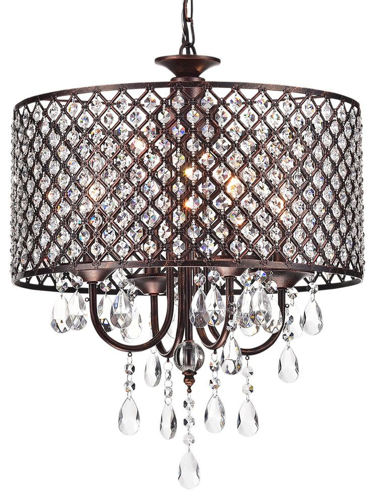 Mariella 4 Light Crystal Drum Shade Chandelier, Antique Within Current Mckamey 4 Light Crystal Chandeliers (View 9 of 25)