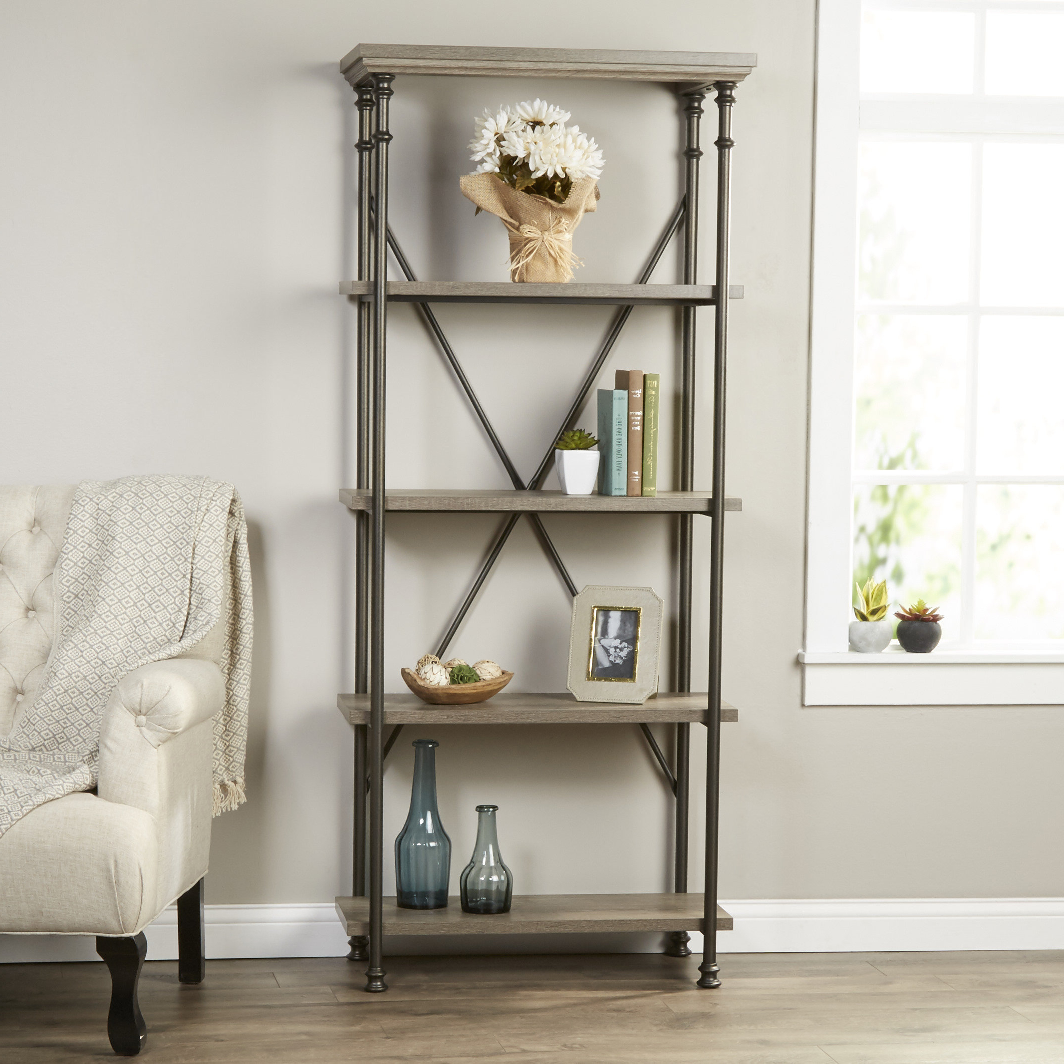 Marilee Library Bookcases Regarding Most Recently Released Farmhouse & Rustic Gray Bookcases & Bookshelves (View 10 of 20)