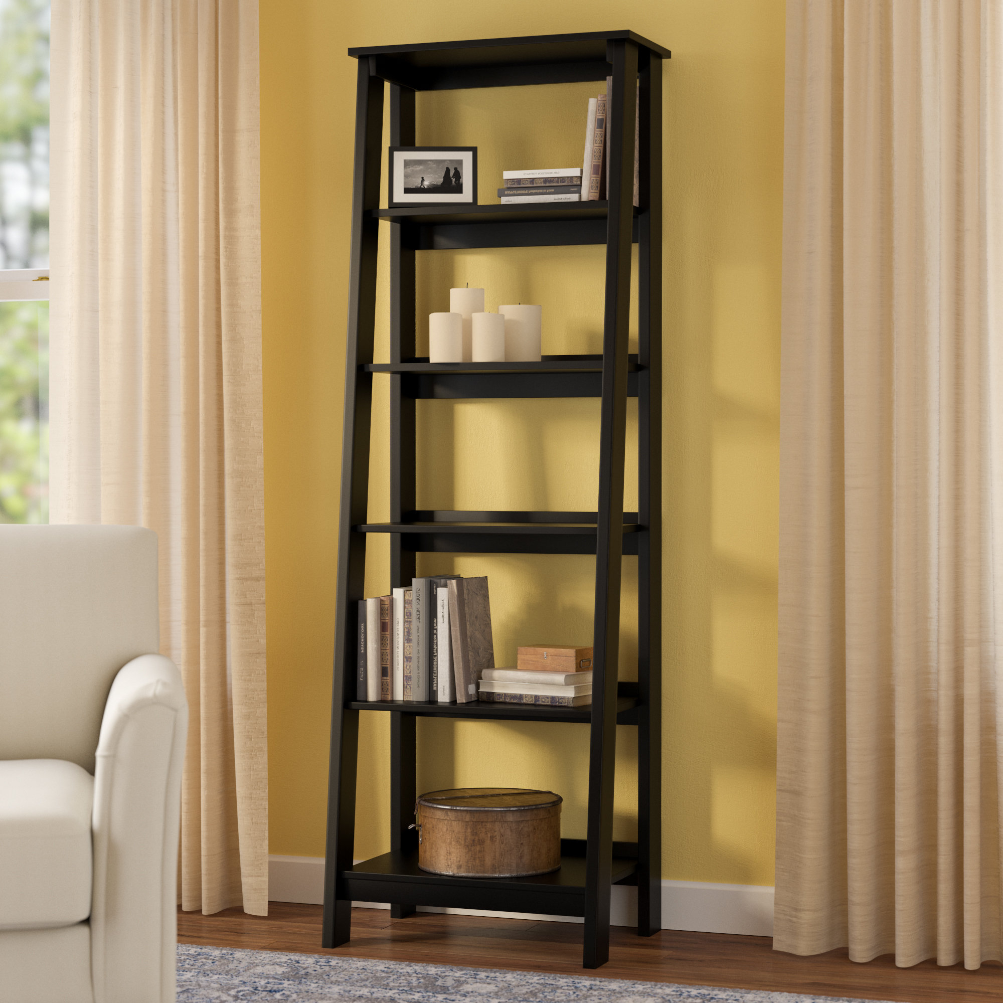 Massena Ladder Bookcase Regarding Latest Averett Ladder Bookcases (View 10 of 20)