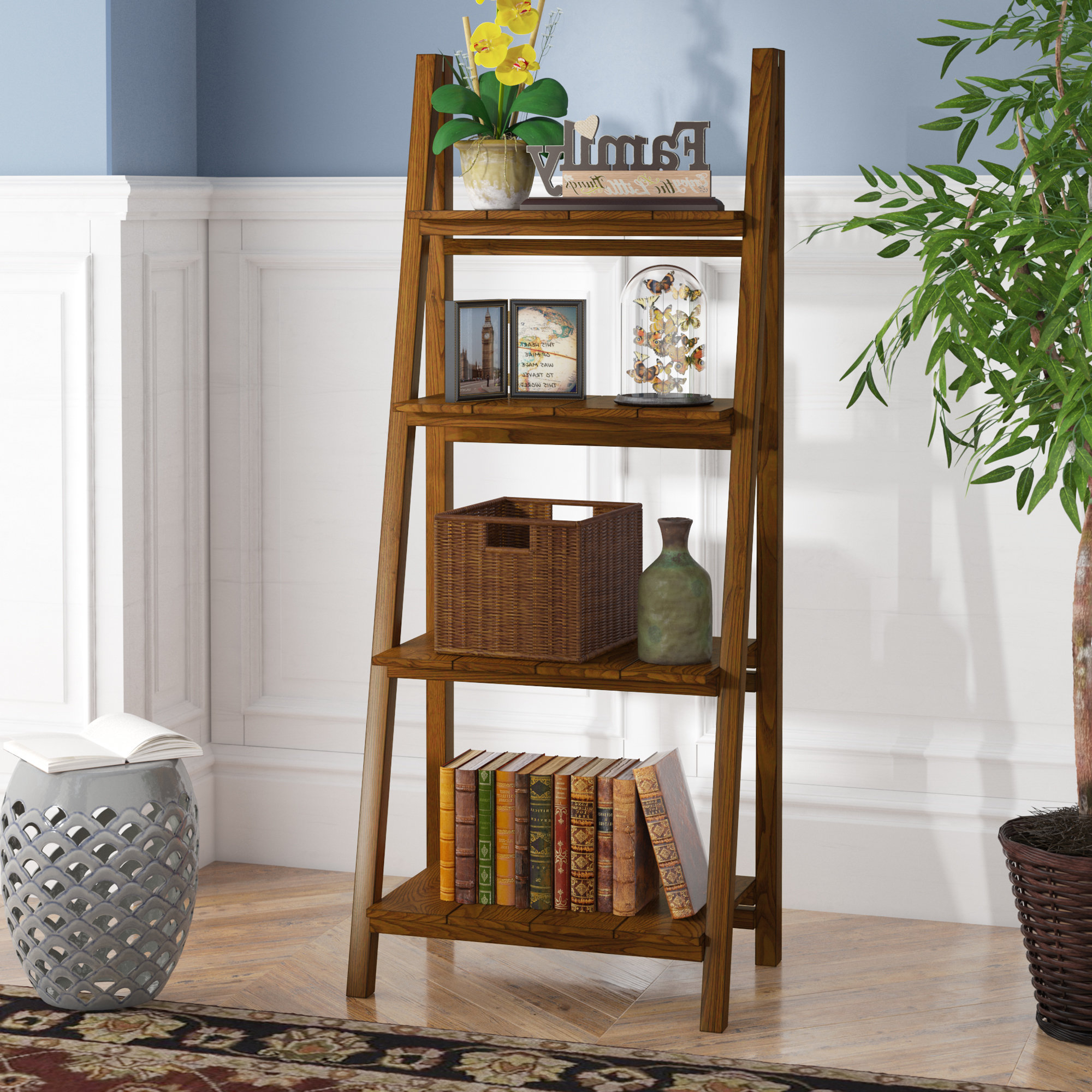 Massena Ladder Bookcases For Most Current Bordelon Slatted Ladder Bookcase (View 10 of 20)