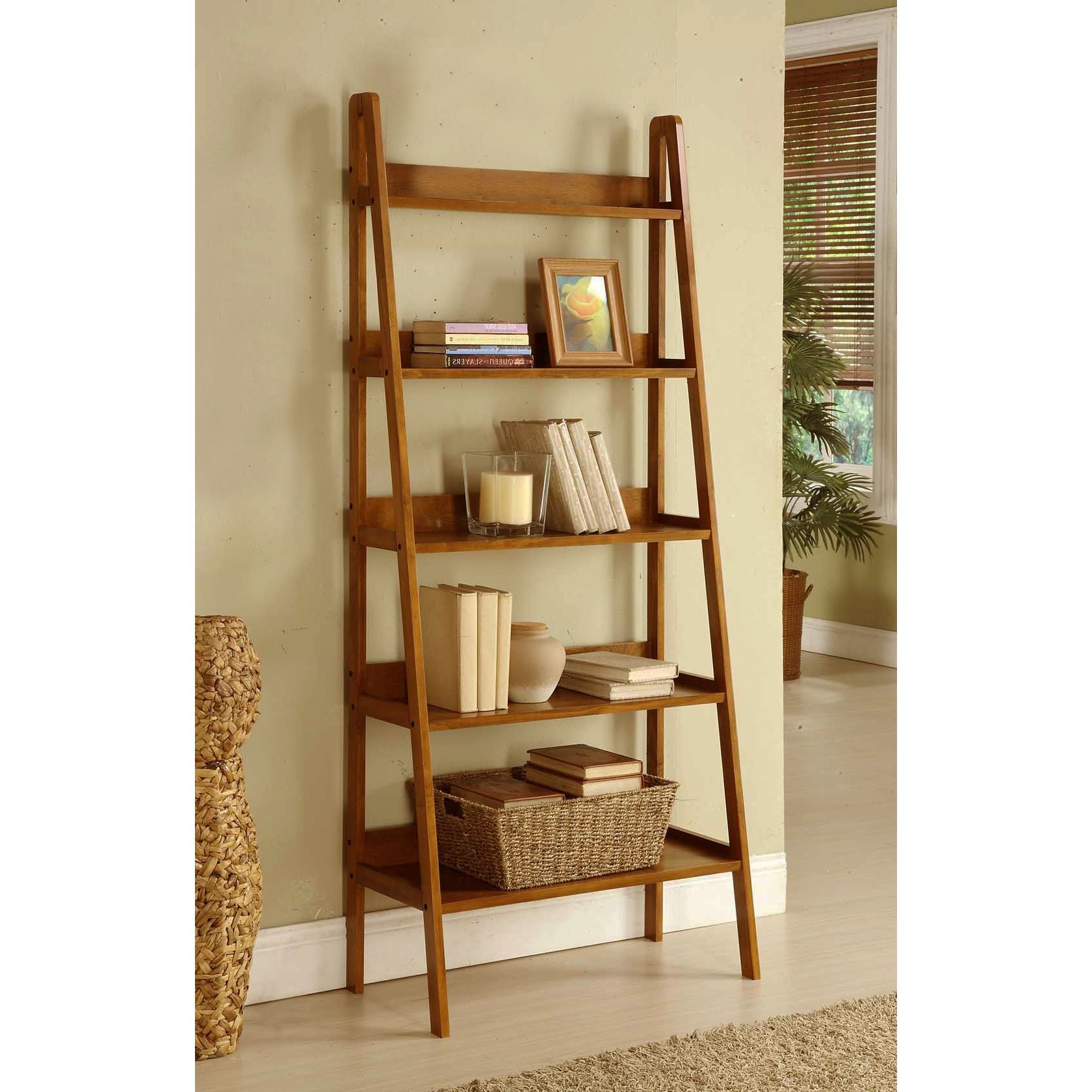 Massena Ladder Bookcases In Fashionable Contemporary Mahogany Leaning Ladder Shelf Bookcase (View 11 of 20)