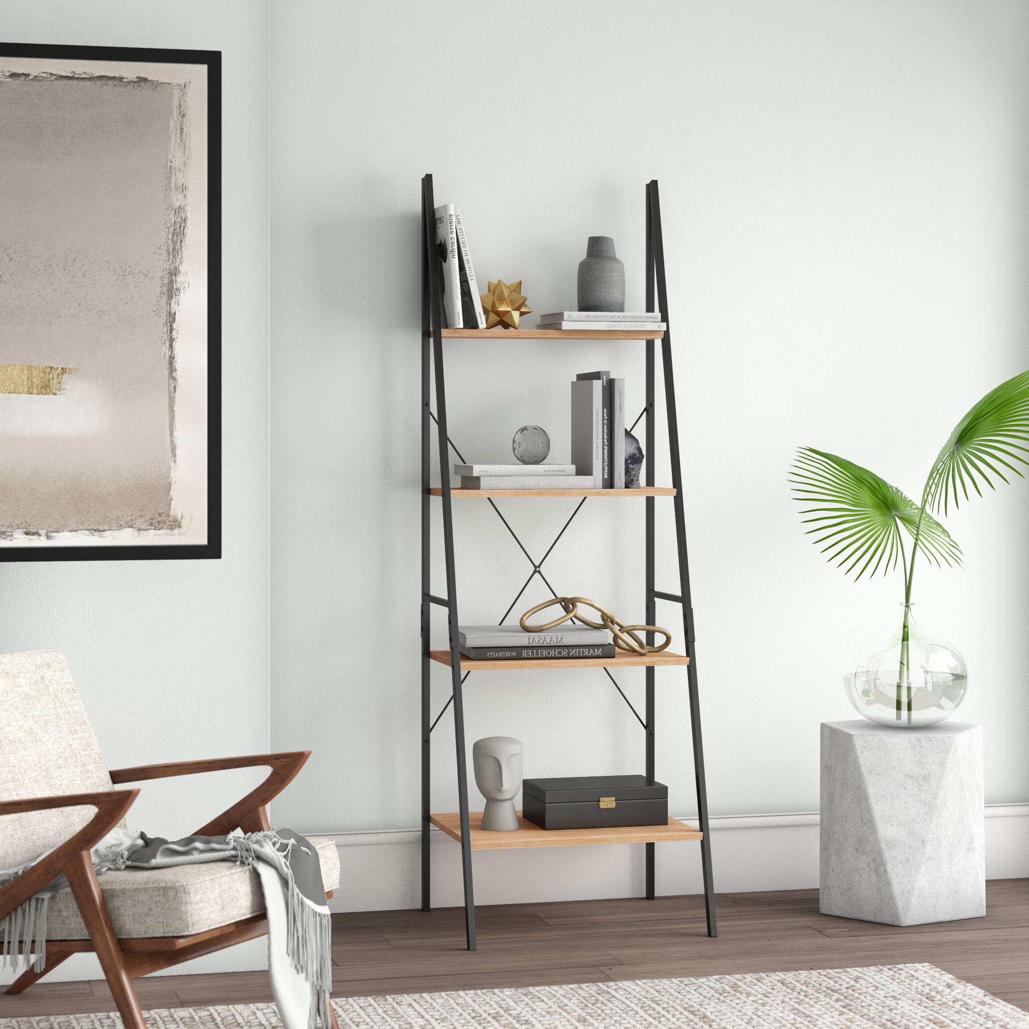 Mayna Ladder Bookcases Regarding Trendy Modern Leaning Bookcases (View 13 of 20)