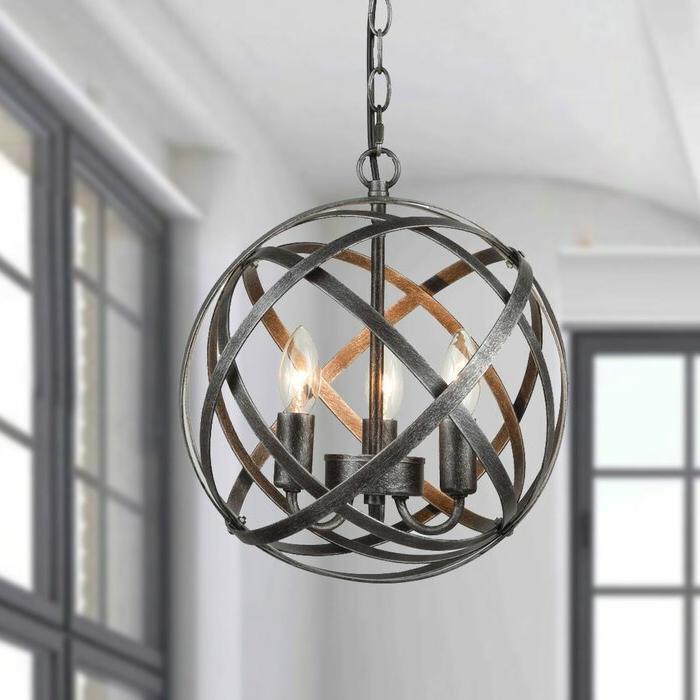 Mcinerney Cage 3 Light Globe Chandelier Throughout Latest Shipststour 3 Light Globe Chandeliers (View 7 of 25)