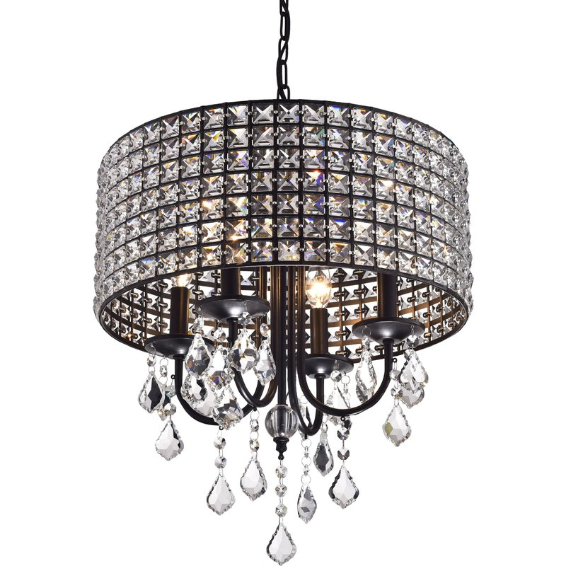 Mckamey 4 Light Crystal Chandeliers Intended For 2018 Albano 4 Light Crystal Chandelier (View 5 of 25)