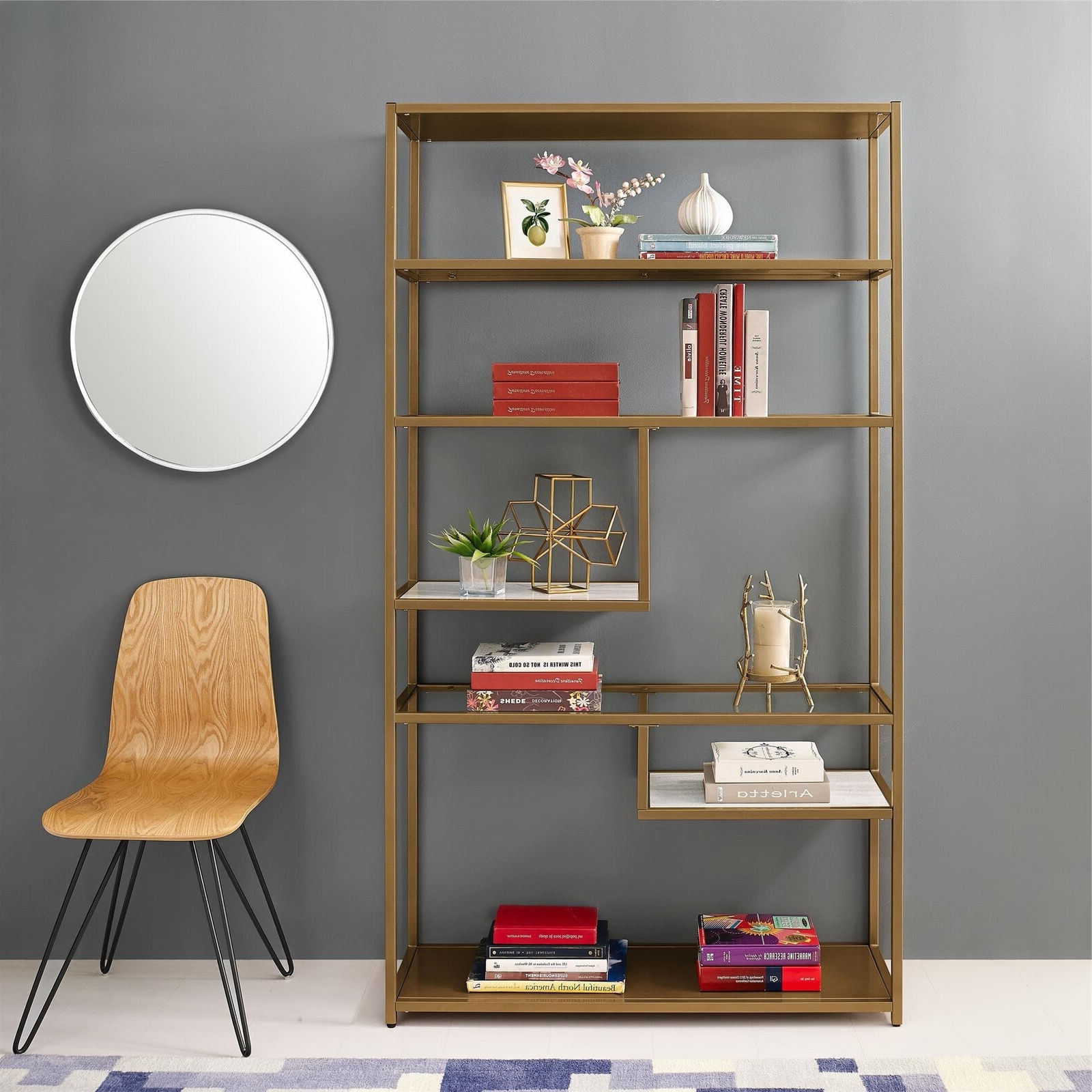 Mckibben Geometric Bookcases Regarding 2020 Bookcase Bookshelves Geometric Etagere Glass Metal Brass Marble Gold Color (View 5 of 20)