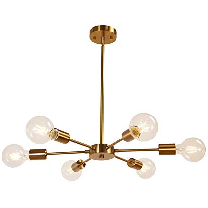 Melucee Modern Sputnik Chandelier 6 Lights Brass Chandelier Semi Flush Mount Ceiling Light Mid Century Pendant Light For Bedroom Foyer Dining Room Intended For Newest Bautista 6 Light Sputnik Chandeliers (View 17 of 25)