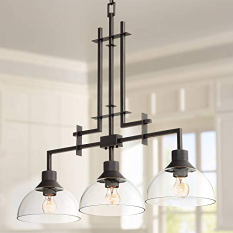 "Metro 32""w Bronze And Clear Glass 3 Light Island Chandelier – Franklin Iron Works In Most Up To Date Lynn 6 Light Geometric Chandeliers (View 20 of 25)"